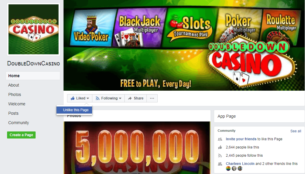 Double down casino fan page